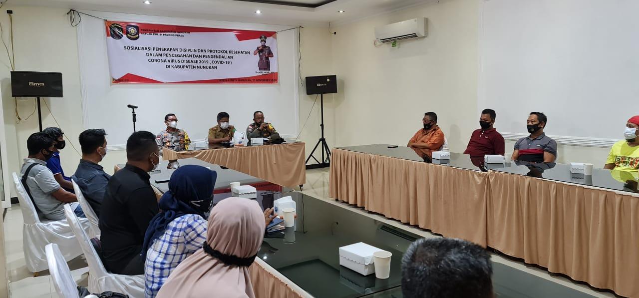 Satpol PP Nunukan Sosialisasikan Pencegahan dan Pengendalian Covid 19.